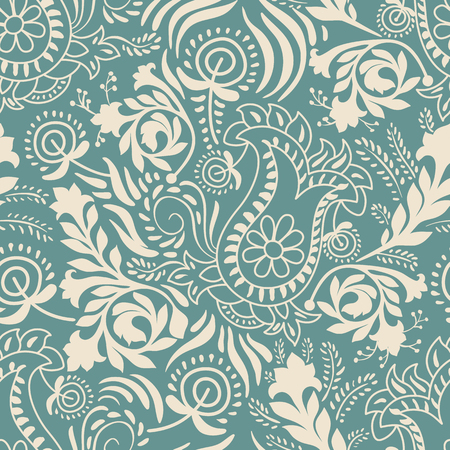 Vector seamless pattern. Monochrome Paisley wallpaper, floral pattern