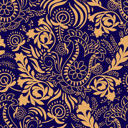 ornamental: Vector seamless pattern. Monochrome Paisley wallpaper, floral pattern
