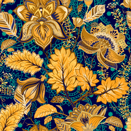 Colorful seamless pattern. Floral background. Vector wallpaper