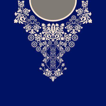 Vector design pour chemises à col, chemises, chemisiers. Ethnique cou fleurs. bordure décorative Paisley