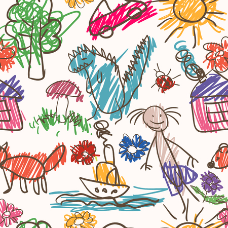 hand drawn: Vector seamless pattern. Hand drawn cartoon style. Colorful backdrop
