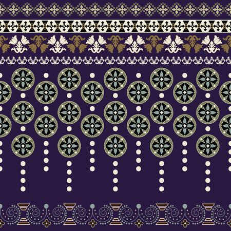 floral border: Ornamental floral seamless pattern. Vector colorful border
