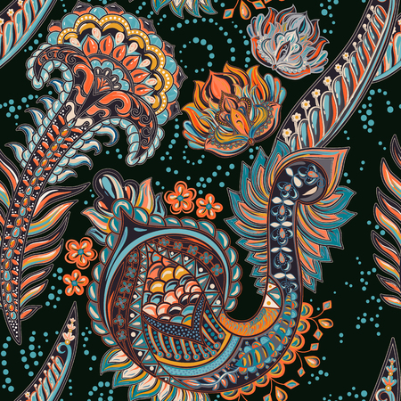 Paisley colorful seamless pattern. indian backdrop  イラスト・ベクター素材