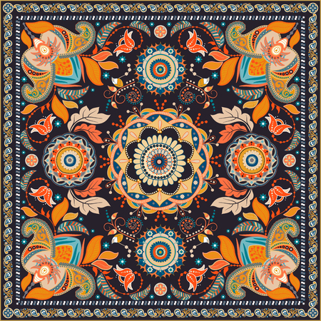indian teenager: Colorful design for shawl. Paisley pattern. backdrop