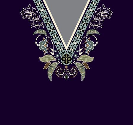 bordados: Flores coloridas étnicos cuello. borde decorativo de Paisley Vectores