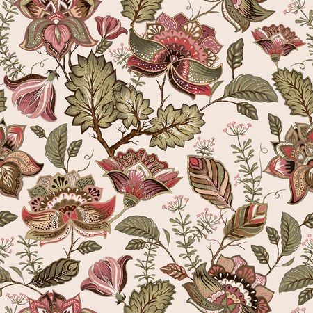 provence: Vintage seamless pattern. Flowers background in provence style. Decorative ornament backdrop for fabric, textile, wrapping paper, card, invitation, wallpaper, web design