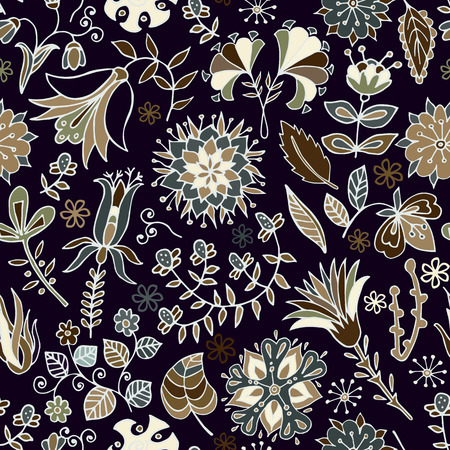 Vintage seamless pattern. Flowers background in provence style. Decorative ornament backdrop for fabric, textile, wrapping paper, card, invitation, wallpaper, web design