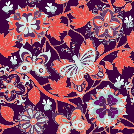 patrón transparente de colores brillantes. flores Papel tapiz de colores para la industria textil, la Web Ilustración de vector