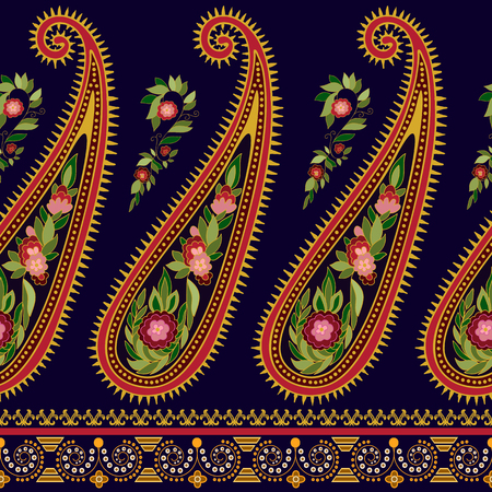 floral border: Striped seamless pattern. Floral wallpaper. Colorful Paisley border