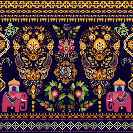 thai style: Striped seamless pattern. Floral wallpaper. Colorful Paisley border
