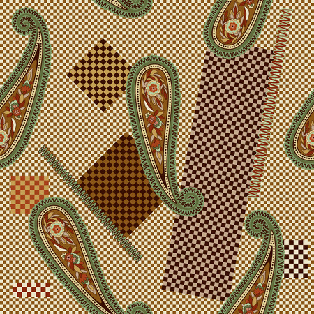 indian teenager: Colorful decorative pattern. Paisley elements on the chess backdrop