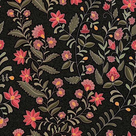 bordados: Contexto floral indio. El efecto de bordado en tela vaquera Vectores