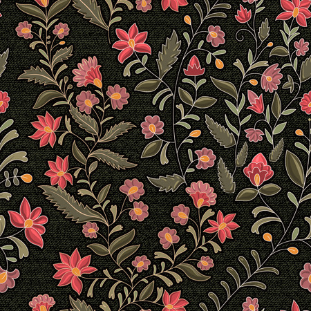 Indian floral backdrop. The effect of embroidery on denim