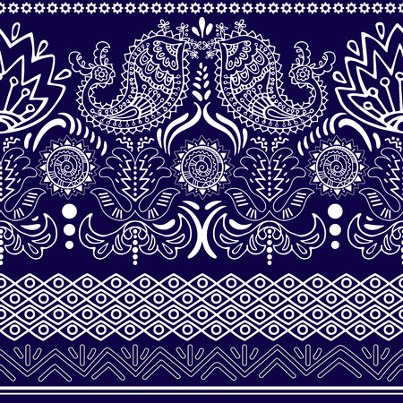 oriental pattern: lace bohemian seamless border with floral elements. Retro roses pattern, floral ornament, geometric stripes. French, Italian, Spanish motif