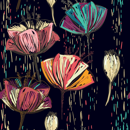 colorful tulips on the black background. Seamless pattern can be used for wallpapers Illustration