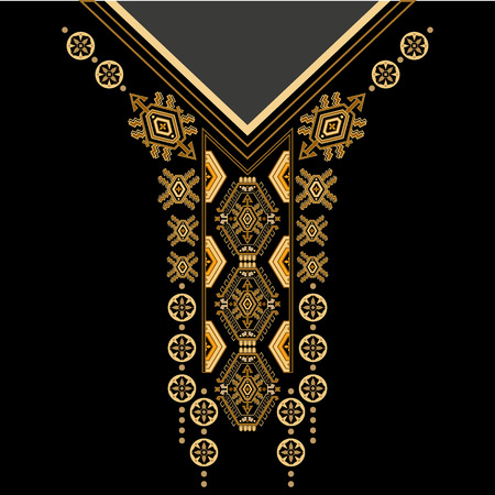 design for collar shirts, shirts, blouses, T-shirt. Black and golden colors ethnic flowers neck. Paisley decorative border Imagens - 63558503