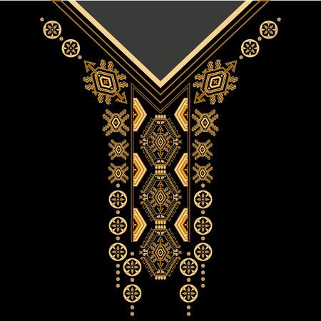 ontwerp voor de kraag shirts, overhemden, blouses, T-shirt. Zwarte en gouden kleuren etnische bloemen nek. Paisley decoratieve grens