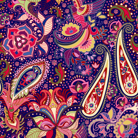 다채로운 인도 원활한 패턴입니다. 페이즐리 무늬 스톡 콘텐츠 - 63558500