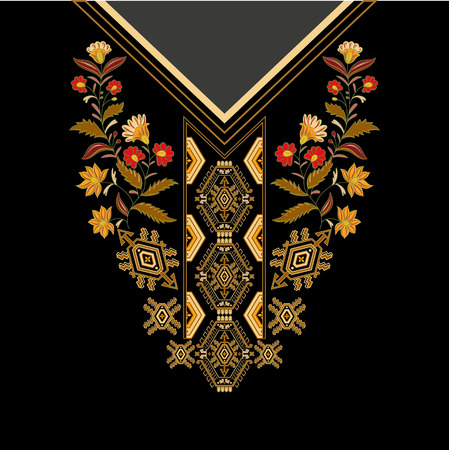 contrast floral: Design for collar shirts, shirts, blouses, T-shirt. Black and golden colors ethnic flowers neck. Paisley decorative border