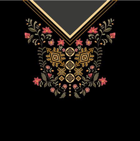traje mexicano: Diseño para las camisas de cuello, camisas, blusas, camiseta. colores negro y oro flores étnico del cuello. borde decorativo de Paisley