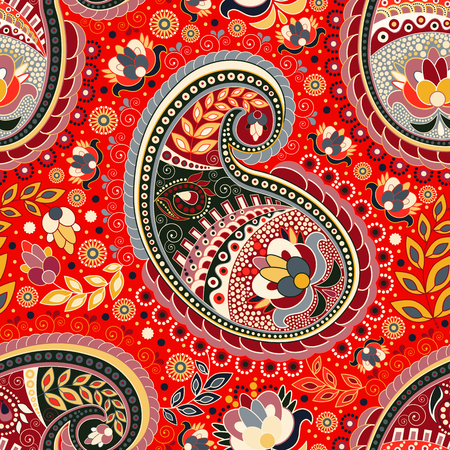 Colorful Paisley seamless pattern.Colorful ethnic backdrop