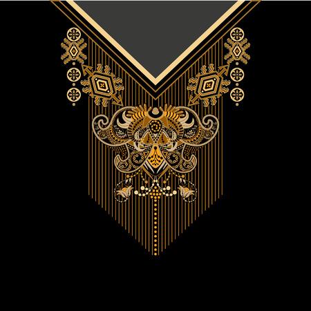 Design for chemises à col, chemises, chemisiers, T-shirt. Les couleurs noires et dorées ethniques cou fleurs. bordure décorative Paisley