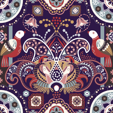 indian teenager: Colorful seamless pattern with decorative birds and flowers. Folk ornament