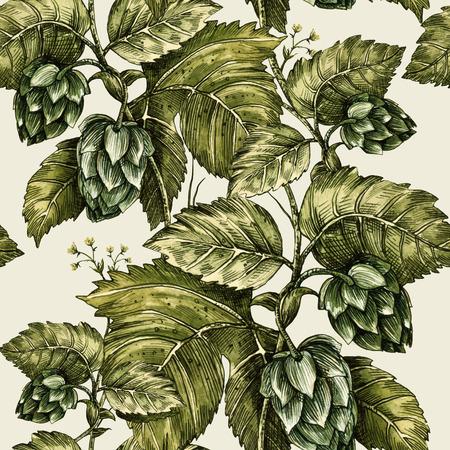 Klimplant klimop, hop. Naadloze bloemmotief. Handmade illustratie. Sjabloon ontwerp van de verpakking, textiel papier