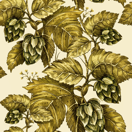 stout: Climbing plant ivy, hop. Seamless floral pattern. Handmade illustration. Template design packaging, textile paper