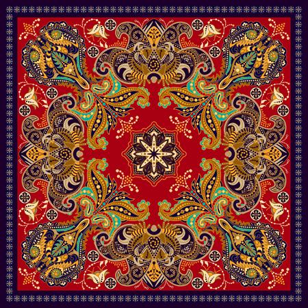 Design for square pocket, shawl, textile. Colorful Paisley floral pattern Illustration