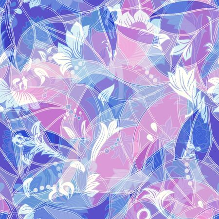 Light colorful seamless pattern. Colorful flowers elegant wallpaper Çizim