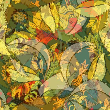 colourful: Light colorful seamless pattern. Colorful flowers elegant wallpaper Illustration
