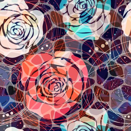 Abstract floral pattern. Colorful mosaic