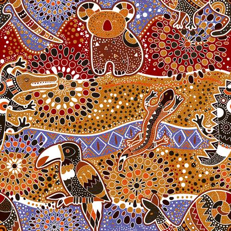 Australian seamless pattern with animals