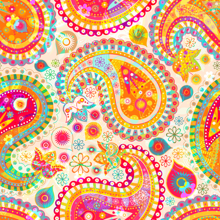 decorative wallpaper: Colorful decorative pattern. Ethnic wallpaper Illustration