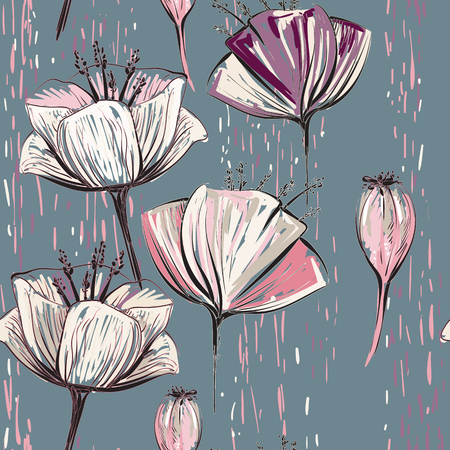 Vector colorful tulips on the black background. Seamless pattern can be used for wallpapers, pattern fills, web page backgrounds, surface textures 일러스트