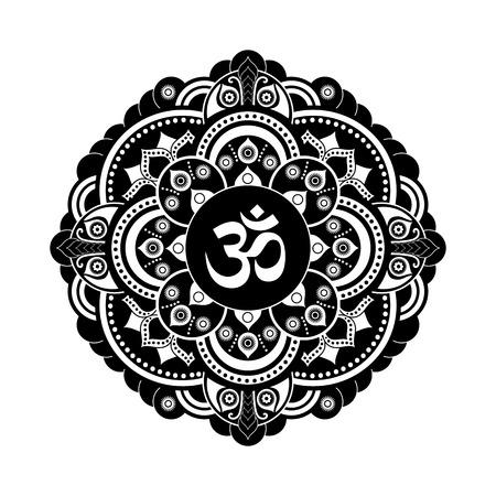 Black and white vector henna tatoo mandala. OM decorative symbol. Mehndi style 일러스트