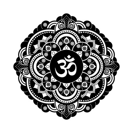 sanskrit: Black and white vector henna tatoo mandala. OM decorative symbol. Mehndi style Illustration