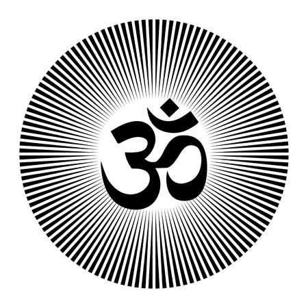Black and white vector henna tatoo mandala. OM decorative symbol. Mehndi style Stock Illustratie