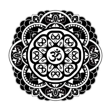 Black and white vector henna tatoo mandala. OM decorative symbol. Mehndi style Illustration