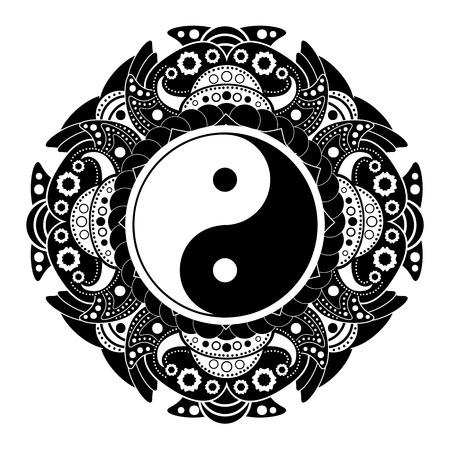 Black and white vector henna tatoo mandala. Yin and yang decorative symbol
