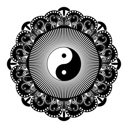 dualism: Black and white vector henna tatoo mandala. Yin and yang decorative symbol