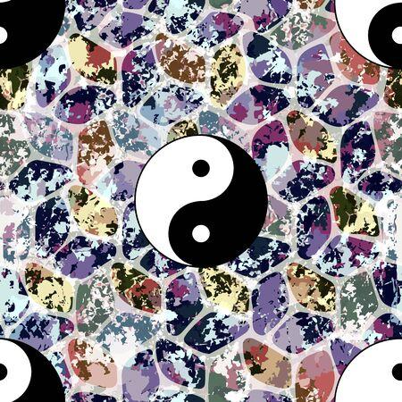 dualism: Colorful seamless pattern, asian backdrop Stock Photo