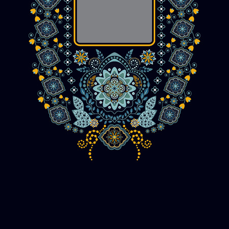 by the collar: Vector design for collar shirts, , blouses, T-shirt. Two colors ethnic flowers neck. Paisley decorative border