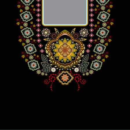 Vector design pour cols chemises, chemisiers, T-shirt. Deux couleurs ethniques du cou de fleurs. bordure décorative Paisley