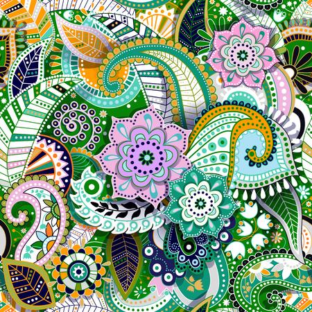 Colorful Paisley seamless pattern. Original decorative backdrop Illustration