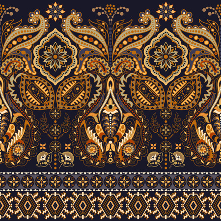 Seamless Paisley background, floral pattern. Colorful ornamental background