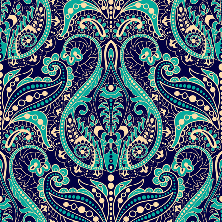 fabric pattern: Seamless Paisley background, floral pattern. Colorful ornamental background. Indian ornament. Beautiful Indian ornament for wrapping paper, fabric, textile, wallpaper Illustration