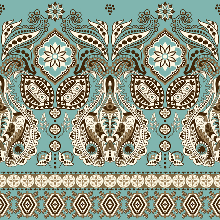 ornaments floral: Seamless Paisley background, floral pattern. Colorful ornamental background. Indian ornament. Beautiful Indian ornament for wrapping paper, fabric, textile, wallpaper Stock Photo