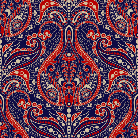 Seamless Paisley background, floral pattern. Colorful ornamental background. Indian ornament. Beautiful Indian ornament for wrapping paper, fabric, textile, wallpaper Illustration